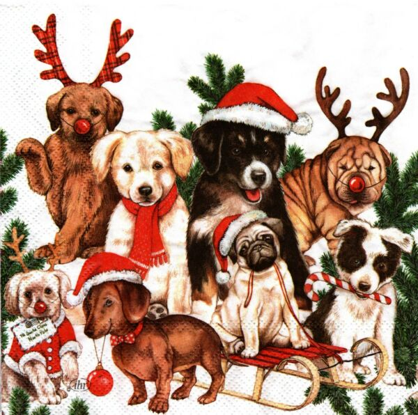 2 Two Paper Lunch Napkins for Decoupage Mixed Media Christmas Dogs $1.95