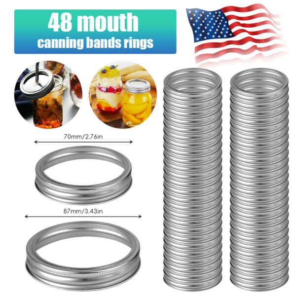 48PCS 70mm 87mm Mouth Canning Bands Rings Silver Durable for Mason Jar Replace $25.98