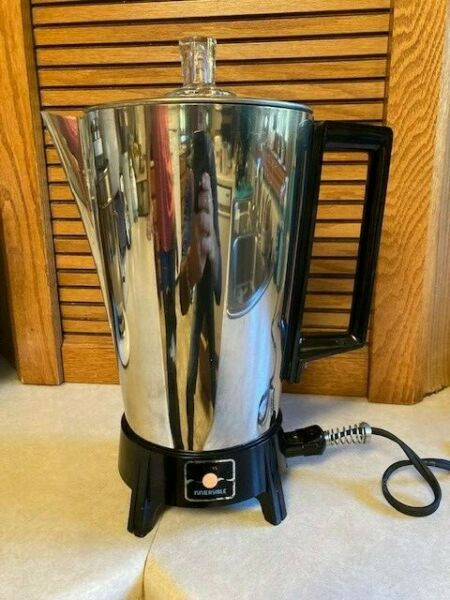 Vintage Sears Atomic Chrome Immersible Percolator Coffee Pot. 10c. works