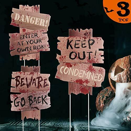 Beware Signs Yard Stakes Halloween Decorations Outdoor Creepy Assorted $12.14