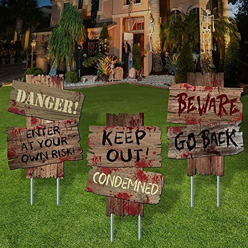 Halloween Decorations Beware Signs Yard Stakes Outdoor 12quot; x 9quot; 3 Pieces $18.81