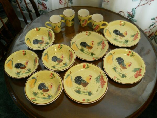 Ceramic Dishes Dinnerware Set 12 Mexican or Spanish Rooster Fruit Earthenware $15.70