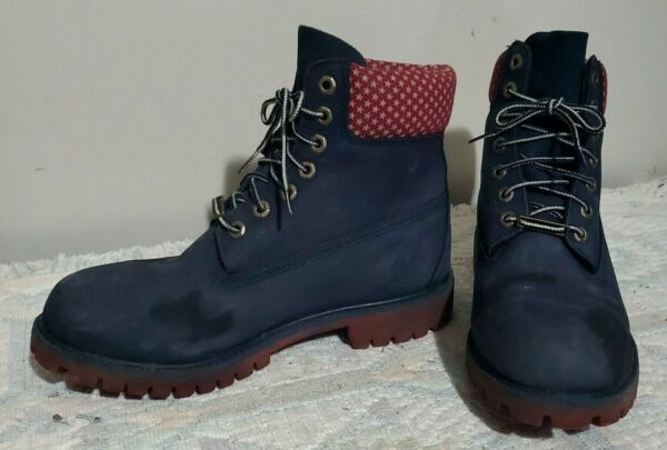 TIMBERLAND BOOTS RED amp; NAVY #A14CU MEN SIZE 8