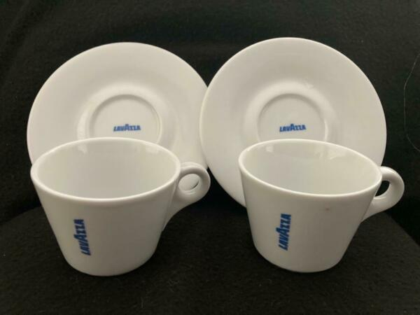 Lavazza Coffee Cappuccino Cups amp; Saucers—D'ancap Porcelain Italy 6 oz Set of 2