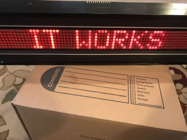 VTG ALPHA 221 RED LETTER SCROLLING MARQUEE SIGN PROGRAMMABLE ELECTRIC 40quot; WORKS $99.99