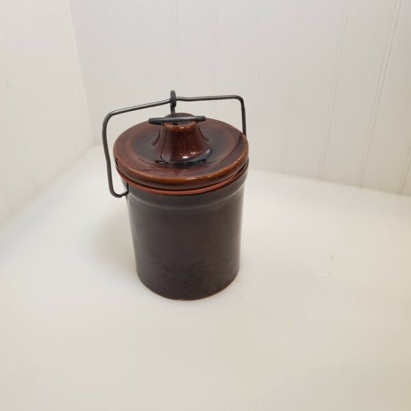 Vintage Brown Glazed Pottery Stoneware Cheese Crock Wire Bale Lid Rubber Seal