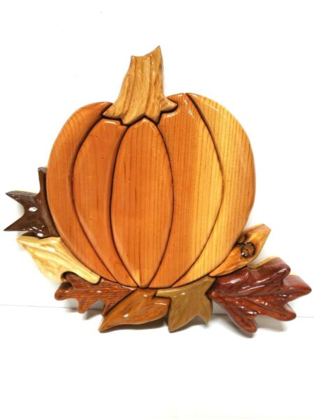 Hand Carved Wood Pumpkin Wall Art Decor Fall Signed Dated Various Wood Material $17.99