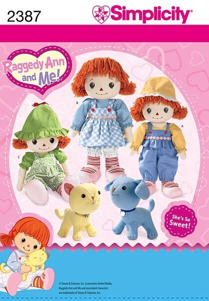 Simplicity 2387 Raggedy Ann 16quot; Doll Clothes Cat Dog Pattern $7.80