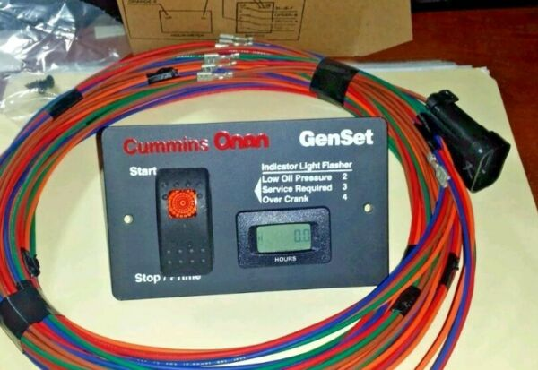 ONAN 12 VOLT  REMOTE START SWITCH HOUR METER  WITH  40' HARNESS