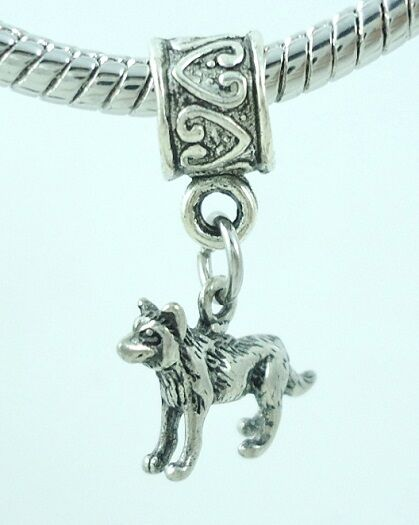 Two 2 Tiny Dog Slider Charms for European Style Bracelets $9.99