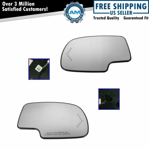 Mirror Glass Heated w/ Turn Signal Left & Right Pair Set for Chevy GMC Cadillac