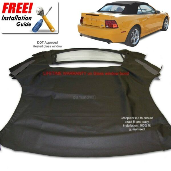 Ford Mustang Convertible Soft Top amp; Heated Glass Window Black Sailcloth 1994 04 $339.00