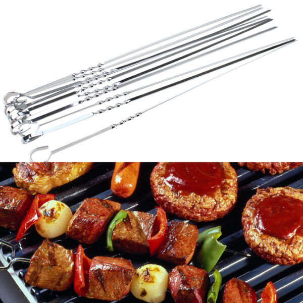 10pack Shish Skewers Barbeque BBQ Kebab Flat Long Grill Sticks Stainless Steel