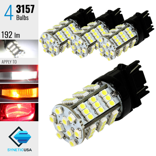 4x 3157 3057A 4157K 54-SMD 6000K White Lights for Reverse Backup LED Lamp Bulbs