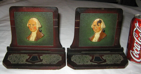 ANTIQUE AMERICAN CJO JUDD GEORGE WASHINGTON PRESIDENT CAST IRON STATUE BOOKENDS