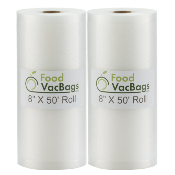 Two 8quot;X50#x27; Giant Bulk Rolls Food Saver Storage Vacuum Sealer Bags by FoodVacBags