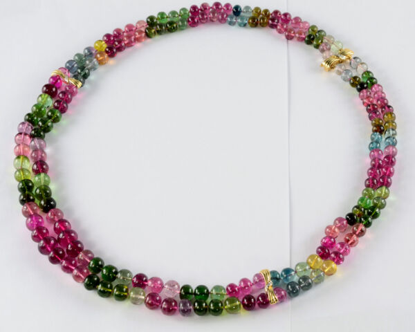 6.5mm-10mm Tourmaline Smooth Rondelle Bead Necklace 22.5