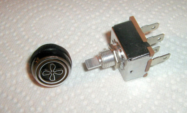 ROTARY AIR CONDITIONING 3 SPEED BLOWER SWITCH,'INDAK', MADE USA WITH 'FAN' KNOB
