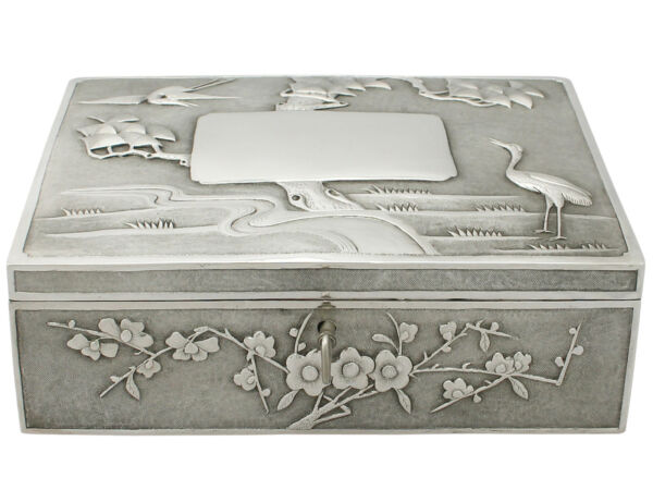 Chinese Export Silver Locking Box by Heng Li - Antique Circa 1890