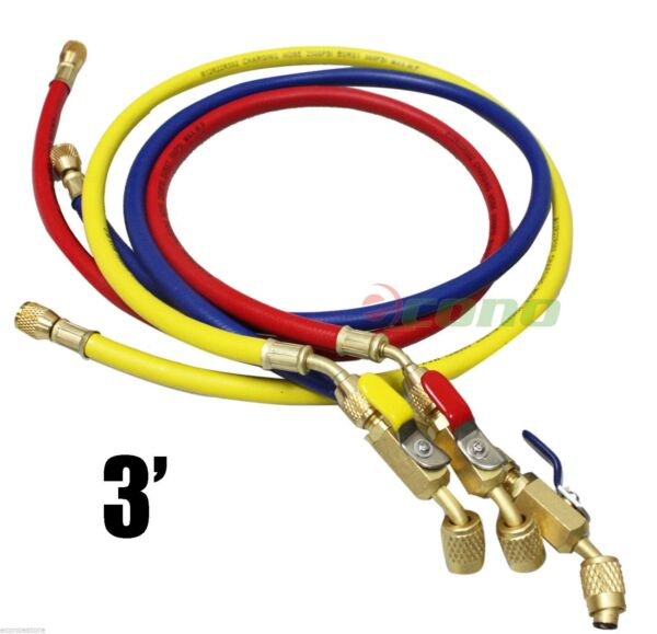5ft R134a R410A R22 3 color HVAC AC Charging Hoses 1 4quot; Fitting w Ball Valves $42.99