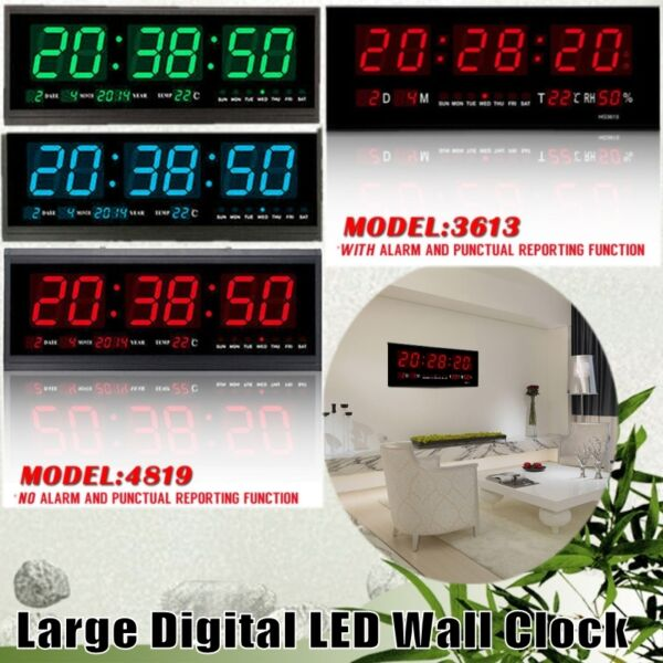 Digital Large Big Jumbo Digits LED Wall Desk Alarm Clock W Calendar Temperature