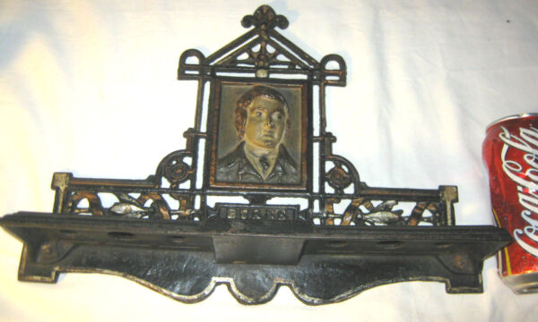 ANTIQUE SCOTLAND POET BURNS CAST IRON WALL PIPE TRAY ART BUST RACK HOLDER BOOK