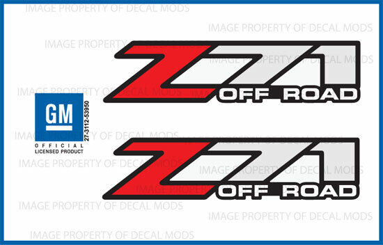 set of 2: 2002 Chevy Silverado Z71 Off Road decals - F - bed truck stickers 1500