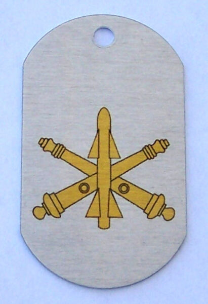 Air Defense Artillery Insignia on an Alum Dog Tag Key Fob Necklace Made in USA