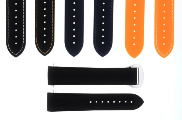 20-22MM RUBBER DIVER STRAP BAND OMEGA SEAMASTER PLANET OCEAN CLASP CURVED END