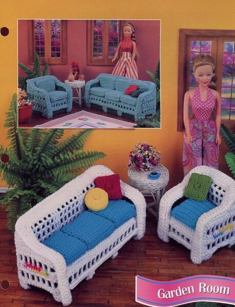 Garden Room Furniture for Barbie Doll Annie#x27;s Crochet Pattern Instructions NEW $2.97