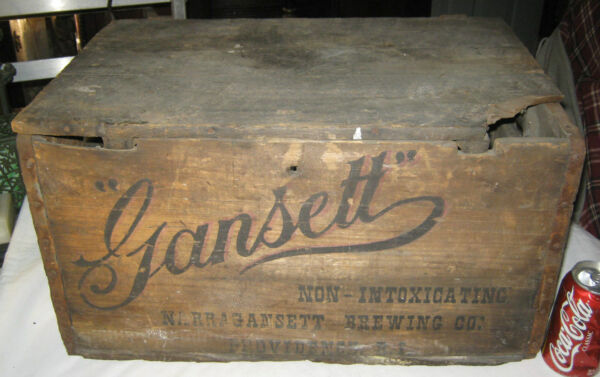 ANTIQUE PROHIBITION NARRAGANSETT BEER BREWERY BAR WOOD BOX CRATE BOTTLE HOLDER