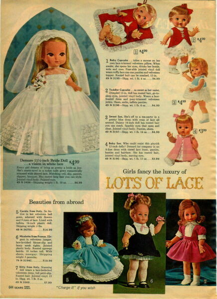 1965 PAPER AD Toy Doll Baby Cupcake Sweet Sue Lace Italy Bride Dolls Snoozie