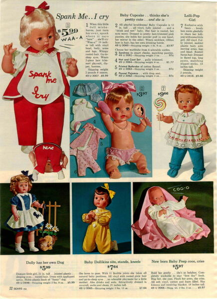 1964 PAPER AD Spank Me Doll Dolls Baby Cupcake Dollikins Lolli Pop Raggedy Andy