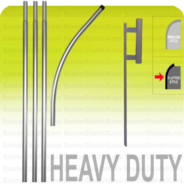 Heavy Duty Swooper POLE SPIKE Ground Stake 15#x27; KIT No Flag Flutter Style
