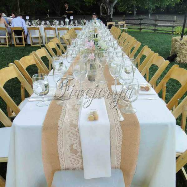 Rose Flower Natural Burlap Hessian Lace Table Runner Weding Party Home Decor C