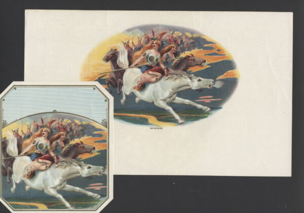 LA6096 SET  2 CIGAR BOX LABELS VALKYRIE VALKYRIES CARRYING WARRIOR  TO VALHALA