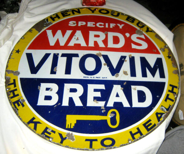 ANTIQUE AMERICAN WARDS KEY VITAMIN BREAD COUNTRY KITCHEN STORE PORCELAIN SIGN US