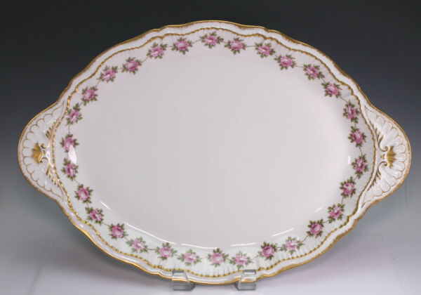 Haviland Limoges H4685 Cabbage Pink Roses Double Gold Trim 16 14