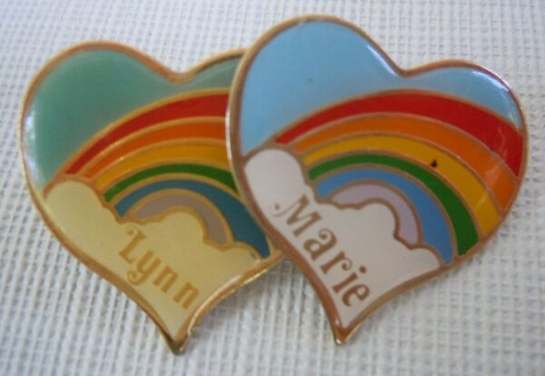 Vintage Rainbow Heart Personalized Pin Many Names to Choose From