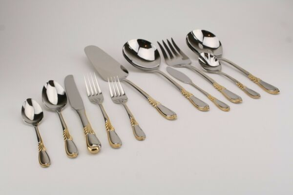 Retroneu Linda Gold Accent 18 8 Stainless Flatware YOUR CHOICE