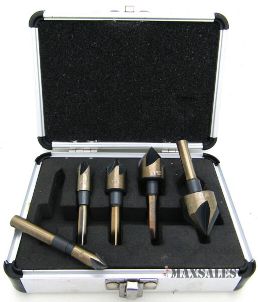 5PC Industrial Countersink Tool Bit Set Counter Sink FOR M2 Steel 82° Angle