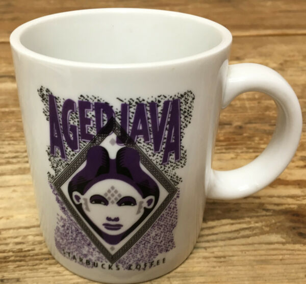 Coffee Mug Aged Java Starbucks Coffee Purple Black Genie White Vintage Woman