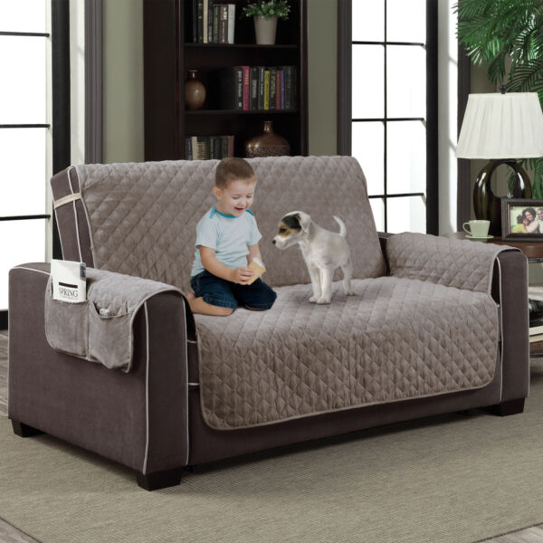 Gray Microfiber Slipcover Pet Dog Furniture Reversible Couch Protector w Pocket $23.99