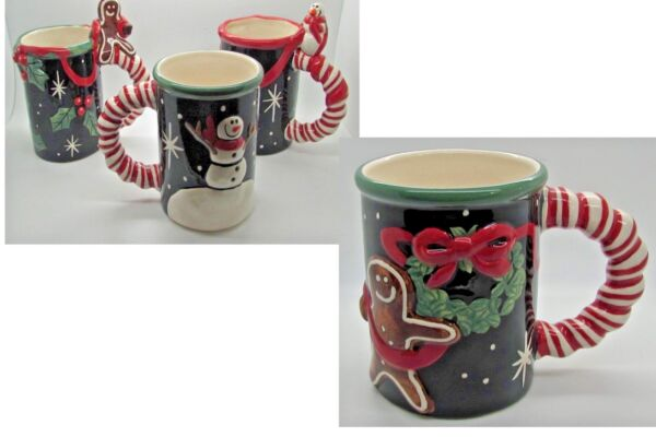 Nicole Engblom Christmas Coffee Mug  Gingerbread Man Candy Cane Handle Set Of 4