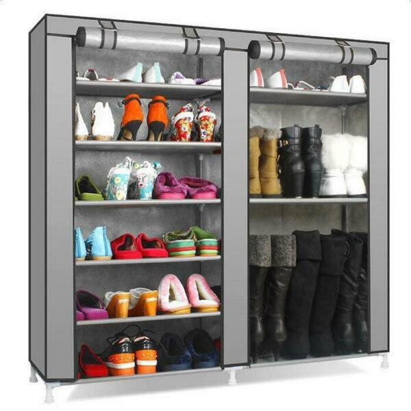New Portable Double Shoe Rack Closet Shelf Storage Organizer Cabinet 9 Layer