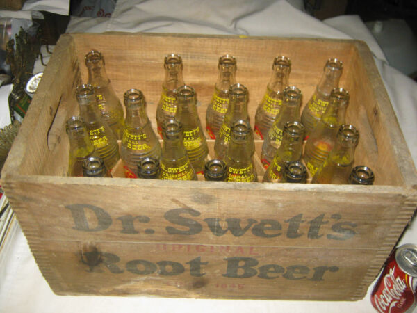 ANTIQUE RI DR SWETTS ROOT BEER SODA WOOD BOX CRATE HOLDER ART SIGN GLASS BOTTLE