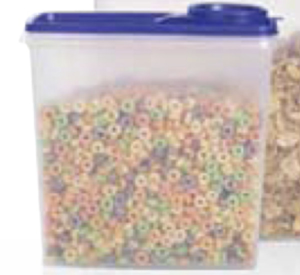 Tupperware Cereal Storer 13 Cup Capacity Clear Base & Berry Bliss Pour Seal New
