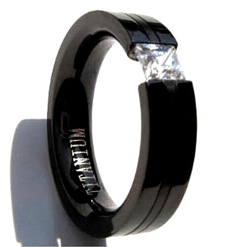 Black Plated Titanium TENSION RING 4mm Square Cubic Zirconia - Select Sizes