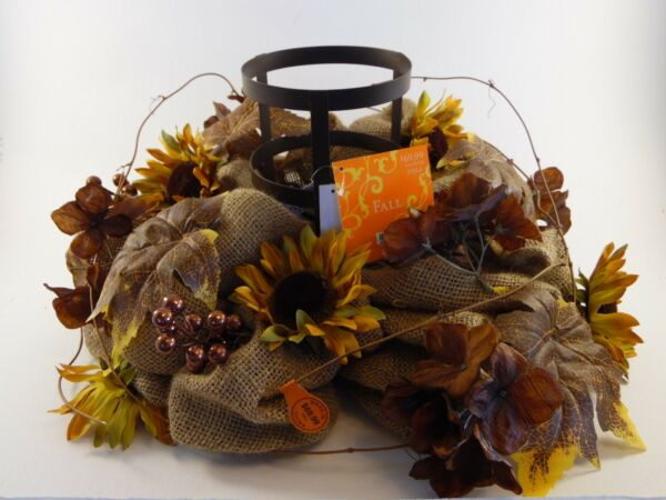 Gorgeous Metal Burlap Autumn Leaves Grapevine Centerpiece Table Fall Decoration