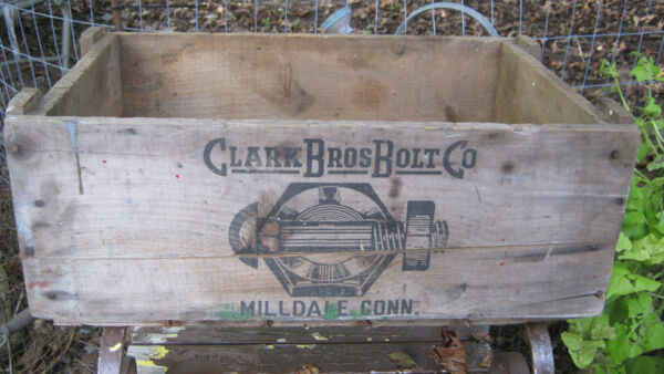 ANTIQUE PRIMITIVE CT COUNTRY HARDWARE STORE WOOD BOX CLARK BOLT CO USA TOOL SIGN